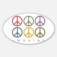 Imagine - Six Signs of Peace Oval Decal