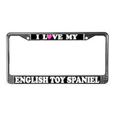 I Love My English Toy Spaniel License Plate Frame