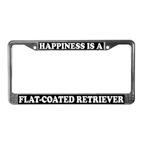 Happiness Flat-Coated Retriever License Plate