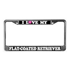 Love My Flat-Coated Retriever License Plate Frame