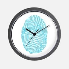 Blue Fingerprint Wall Clock