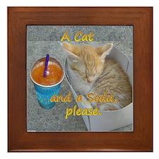 Cat & Soda Framed Tile
