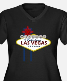 Las Vegas Sign Women's Plus Size V-Neck Dark T-Shi