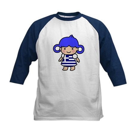 Greek Flag Girl Kids Baseball Jersey
