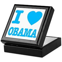 I Love Obama Baby Blue Keepsake Box