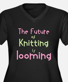 Cute Knitting yarn men crafts Women's Plus Size V-Neck Dark T-Shirt