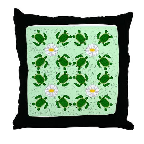 Turtles N Daisies Throw Pillow