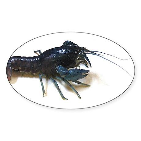 Blue Crayfish Oval Sticker