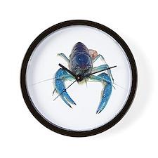 Blue Crayfish Wall Clock