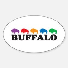 Colorful Buffalo Oval Decal
