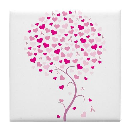 Tree of Hope - Breast Cancer Tile Coaster