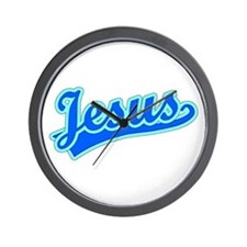 Retro Jesus (Blue) Wall Clock