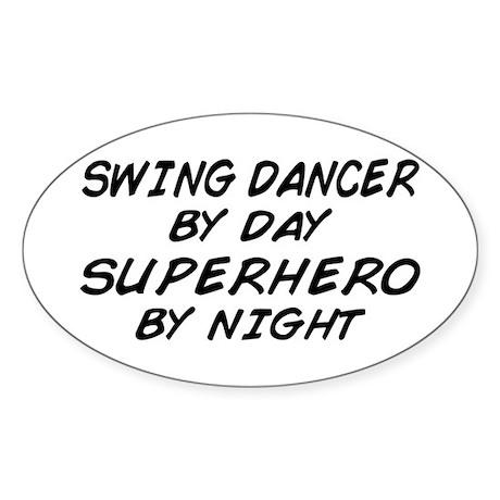 Swing Dancer Superhero by Night Oval Sticker