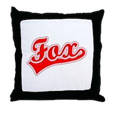 Retro Fox (Red) Throw Pillow