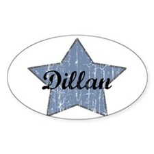 Dillan (blue star) Oval Decal