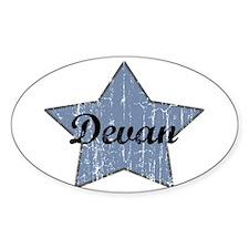 Devan (blue star) Oval Decal
