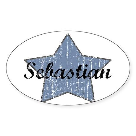 Sebastian (blue star) Oval Sticker