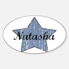 Natasha (blue star) Oval Decal