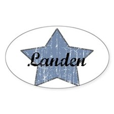 Landen (blue star) Oval Decal
