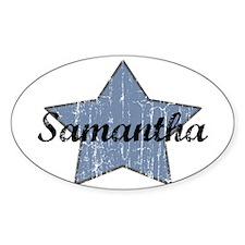 Samantha (blue star) Oval Decal
