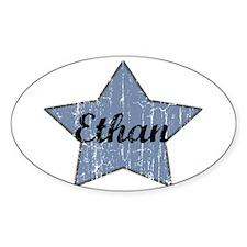 Ethan (blue star) Oval Decal