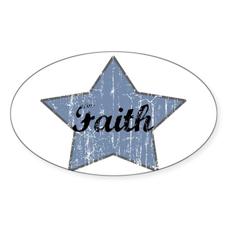 Faith (blue star) Oval Sticker