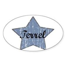 Terrel (blue star) Oval Decal