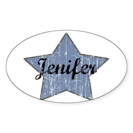 Jenifer (blue star) Oval Sticker