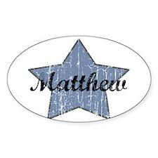 Matthew (blue star) Oval Bumper Stickers