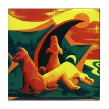 Hound Dogs Expressionist Art Tile Coaster