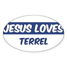 Jesus Loves Terrel Oval Decal