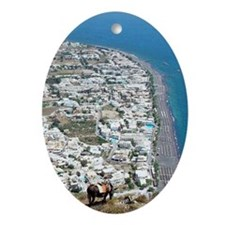 View over Kamari, Santorini Oval Ornament