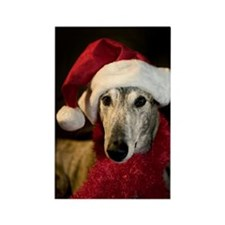 Santa Greyhound Rectangle Magnet