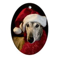 Santa Greyhound Oval Ornament