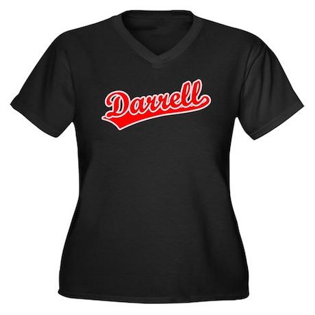 Retro Darrell (Red) Women's Plus Size V-Neck Dark