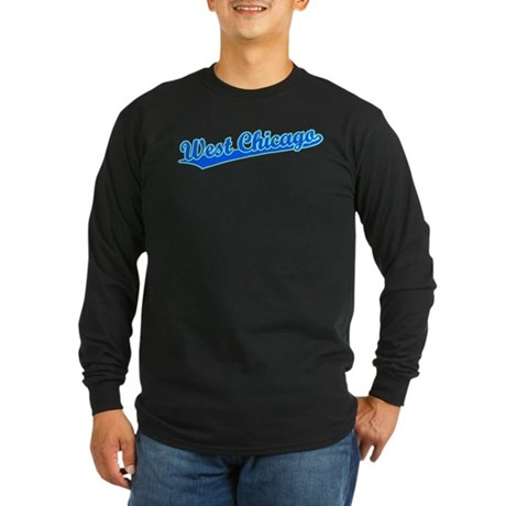 Retro West Chicago (Blue) Long Sleeve Dark T-Shirt