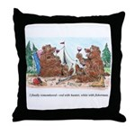 Wine-Loving Bears Throw Pillow