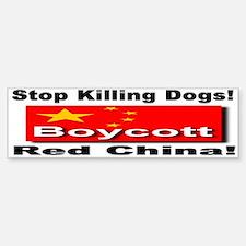 Stop Killing Dogs Boycott Red Bumper Car Car Sticker