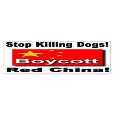 Stop Killing Dogs Boycott Red Bumper Car Sticker