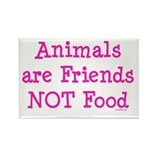 Animals are Friends Not Food Rectangle Magnet
