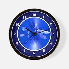 Blue Iridescent Dragonfly Wall Clock