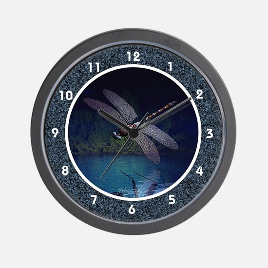 Dragonfly Night Reflections Wall Clock