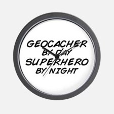 Geocacher Superhero by Night Wall Clock