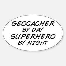 Geocacher Superhero by Night Oval Decal