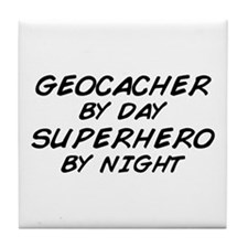 Geocacher Superhero by Night Tile Coaster