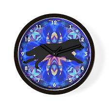 Running Wolf Kaleidoscope Black Clocks Wall Clock