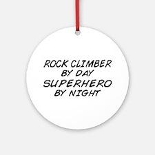Rock Climber Superhero by Night Ornament (Round)