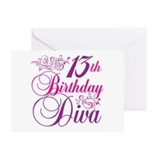 13th Birthday Diva Greeting Cards (Pk of 20)