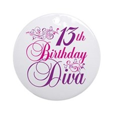 13th Birthday Diva Ornament (Round)