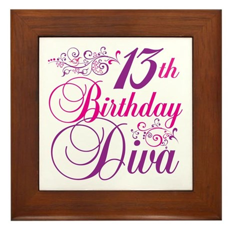 13th Birthday Diva Framed Tile
